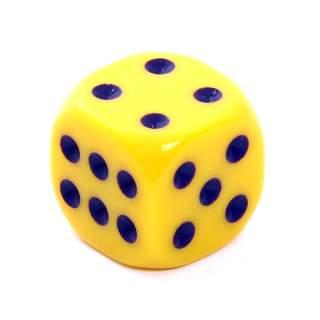 Kostka - K6 matowa - oczka - żółta - 15mm