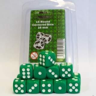 Kostki - K6 - Green - 15 sztuk