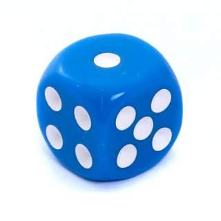 Kostka - K6 matowa - oczka - niebieska - 12mm